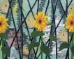 Met drie zonnebloemen, een konijn, een hond en een paar vissen, 125 x 100 cm, olieverf op linnen, 2011.