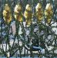Met vijf vissen, 140 x 140 cm, olieverf op linnen, 2011