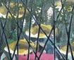 Met vijf vissen en takken ervoor, 100 x 82 cm, olieverf op linnen, 2011