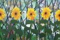 Met vijf zonnebloemen en twee zwanen, 199,5 x 134 cm, olieverf op linnen, 2011.