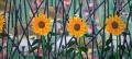 Vier zonnebloemen, 210 x 100 cm, olieverf op linnen, 2012