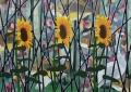Drie zonnebloemen, 145 x 200 cm, olieverf op linnen, 2012