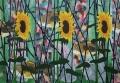 Drie zonnebloemen en drie konijnen, olieverf op linnen, 2013
