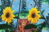 2 zonnebloemen en een aap no. 2, 75 x 50 cm, olieverf en spuitverf op linnen, 2014