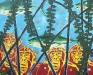 Watch the monkeys, 82 x 62 cm, spuit en olieverf op linnen, 2014