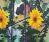 2 zonnebloemen met hond, olieverf op linnen, 2015